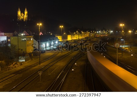 The train station of Schwandorf in Bavaria at night - stock photo