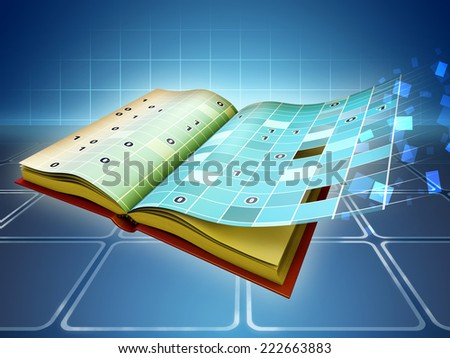 The transition from traditional book to e-book. Digital illustration. - stock photo