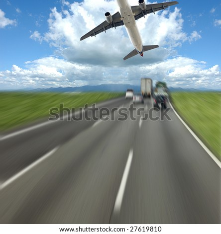 the transportation concept with the scene at highroad. - stock photo