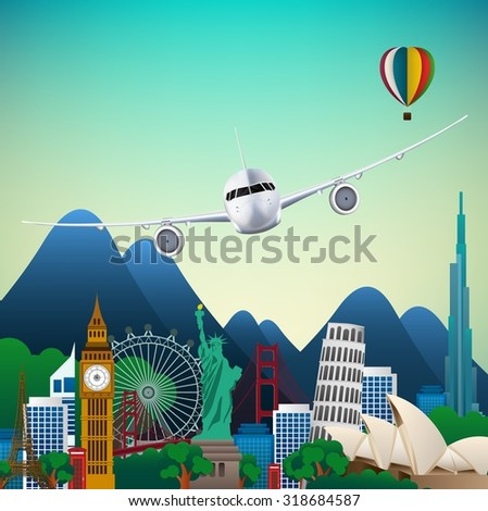 The travel of Famous monuments of the world. Symbol - stock photo
