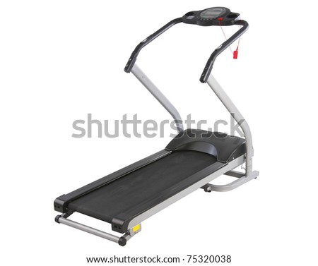 The treadmill running track machine for better health isolated on white - stock photo