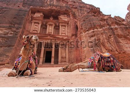 The Treasury,Al Khazneh, in Petra, Jordan - stock photo