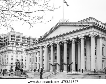 The Treasury department building near the White House. Washington DC - stock photo