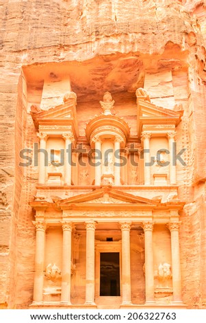 The Treasury in the ancient Edomite city of Petra, Jordan. It is known as Al Khazneh. - stock photo