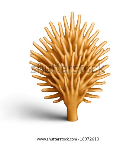 The tree made of golden plasticine hands on a white background - stock photo