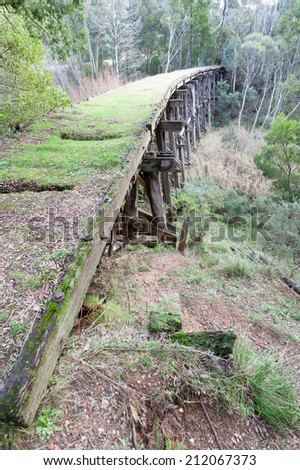 The trestle bridge over Stony Creek is reputedly one of the highest bridges of its type in Australia built 1916 near Nowa Nowa - stock photo