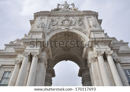 The Triumph Arch of Augusta Street in Lisbon (Portugal) - stock photo