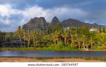 The tropical coastline of the Hawaiian Island of Kauai - stock photo