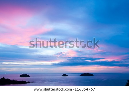 The tropical sunset in Thailand,Andaman sea. - stock photo