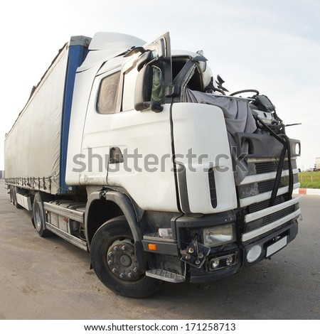 The truck after the road accident - stock photo