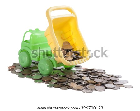 The truck pours out the coins of the body isolated on white background - stock photo
