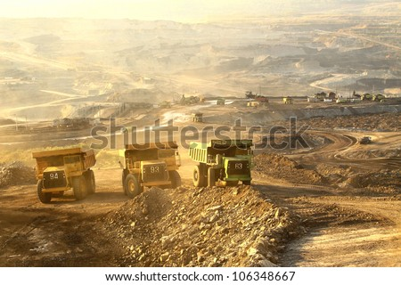 The  trucks at worksite - stock photo