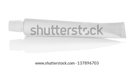 The tube of a toothpaste isolated on white - stock photo
