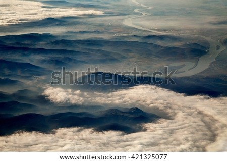The turn of the river Danube in Hungary viewed from a plane - stock photo