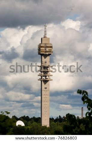 The Tv-tower Kaknastornet in Stockholm Sweden - stock photo