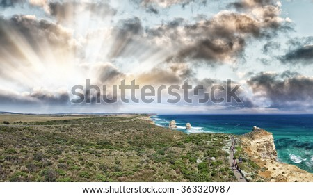 The Twelve Apostles, Australia. Stunning aerial panoramic view at dusk. - stock photo