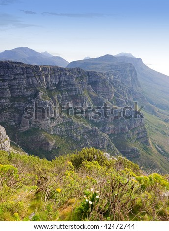 the Twelve Apostles in Cape Town, South Africa . Photo taken f rom the top of Table Mountain - stock photo