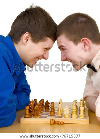 The two chess players in the opposition - stock photo
