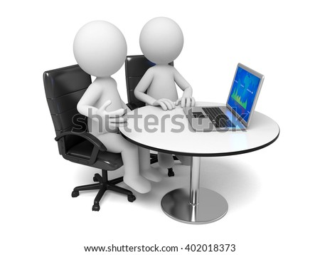 The two 3d people are at a meeting - stock photo
