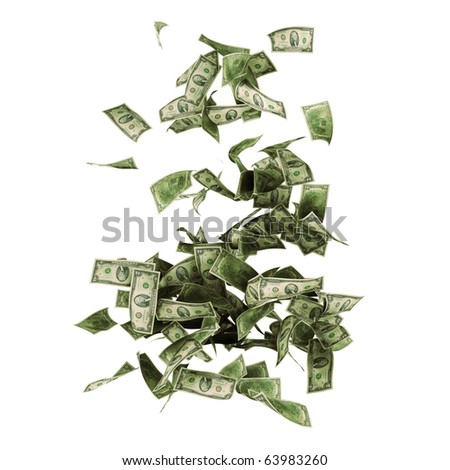 The two dollar banknotes isolated on a white background with mask - stock photo