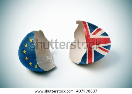 the two halves of a cracked eggshell, one patterned with the flag of the European Community and the other one patterned with the flag of the United Kingdom - stock photo