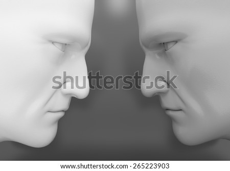 The two men confront each other - stock photo
