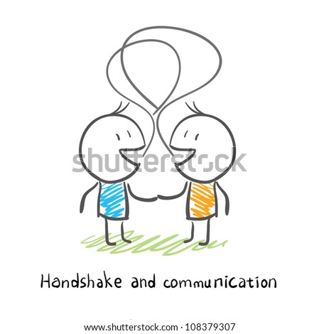 The two men shake hands, and socialize. Illustration. - stock photo