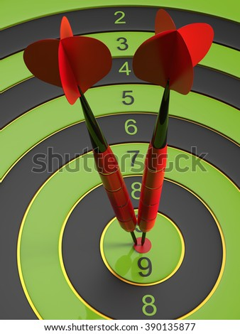 The two red darts hitting the bullseye. 3d illustration - stock photo