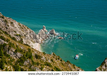 The Two Sisters' cliffs, Mount Conero, Marche, Italy - stock photo