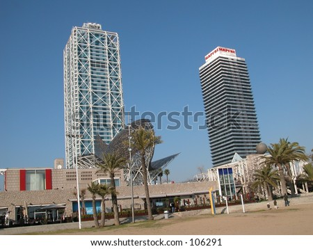 The two twin towers in theOlympic area of Barcelona, Spain, housing offices and a luxury hotel. - stock photo