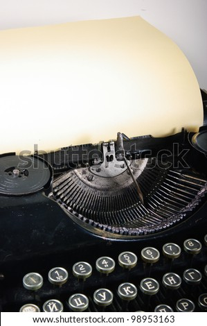 The typewriter is intended to print any texts on a paper - stock photo