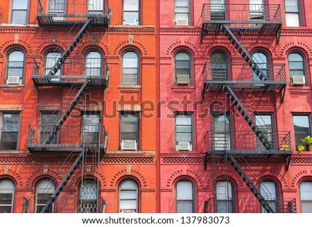 The typical houses in New York in USA - stock photo