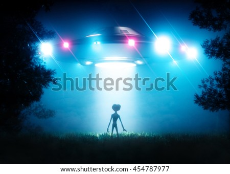 The ufo hovering over the alien visitor. 3D rendering. - stock photo