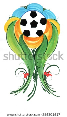 The Ukrainian decorative list. Plant branch with a ball inside - stock photo