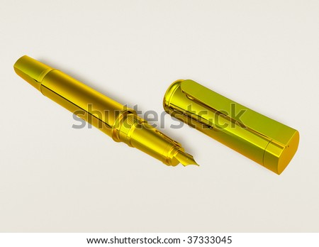 the unclosed golden pen on white backgrounds - stock photo