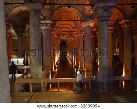 The underground Basilica Cistern - stock photo