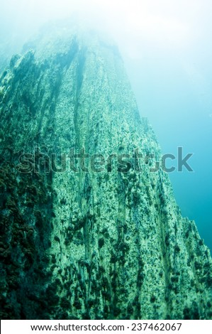 The underwater mountain below the hot spring, the different density of hot and cold water makes the vision blurry. Barracuda Lake, Coron, Philippines. - stock photo
