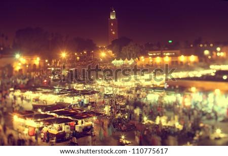 the UNESCO square Djemaa El-fna at marrakesh, Morocco - stock photo
