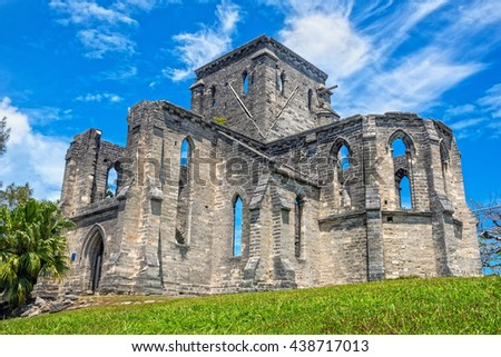 The unfinished church in Bermuda dates back to 1874 when construction began. - stock photo