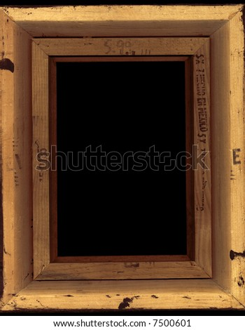 The unfinished, damaged back of a frame. Intended as a grungy picture frame. - stock photo