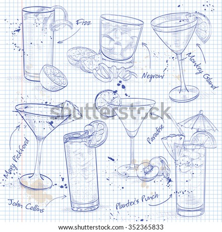 The Unforgettables Cocktail Set on a notebook page - stock photo