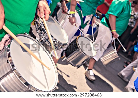 The unidentified samba musicians participates at the annual samba festival in Coburg, Germany - stock photo