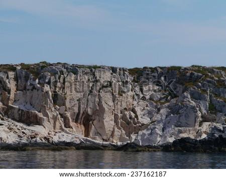 The uninhabited  Greben islands  in the Adriatic sea of Croatia - stock photo