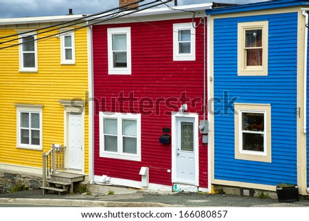 The unique architecture of the homes in downtown St. John's, Newfoundland, Canada.   - stock photo