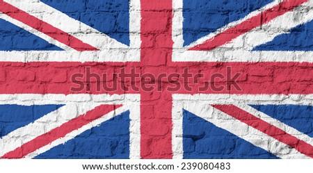 The United Kingdom flag on brick wall background - stock photo