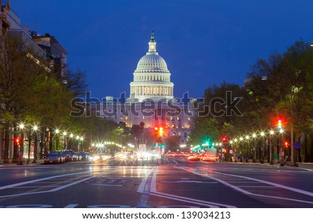The United States Capitol building in Washington DC - stock photo