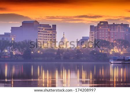 The United States Capitol building in Washington DC, sunrise - stock photo