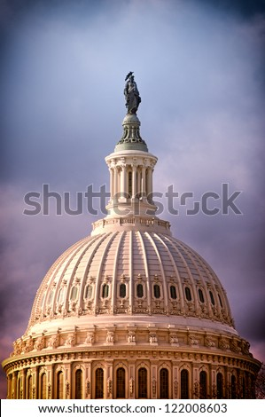 The United States Capitol dome withe the statue of Freedom on top in Washington, D.C. - stock photo