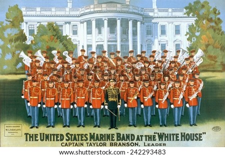 The United States Marine Band at the White House was lead by Taylor Branson from 1937-1940, 20th Leader of the Marine Band. 1928. - stock photo