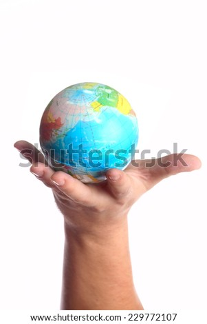 The universe in human hand. Isolated on white background - stock photo